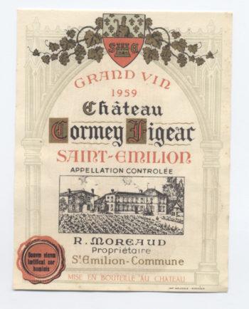 Étiquette d'un château Cormeil-Figeac de 1959