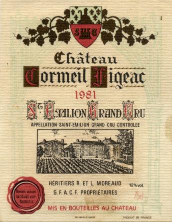 Château Cormeil-Figeac de 1981