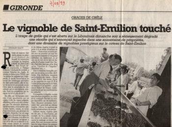 Orage de grèle s'abat sur Saint-Émilion